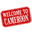 welcome to Cameroon red square grunge stamp vector image