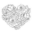 line rose heart shape vector image