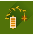 Flat web icon with long shadow mobile battery vector image