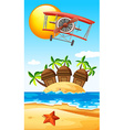 Airplane flying over island vector image