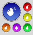 bomb icon sign Round symbol on bright colourful vector image