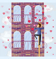 boy climbing on a rope valentine day card vector image