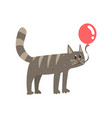 cute cartoon gray cat holding red balloon happy vector image