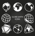 globe earth icons collection on blackboard vector image