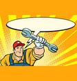 male repairman with a wrench says comic book vector image