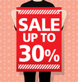 man holding a SALE paper vector image