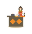 mother cooking in kitchen in vector image