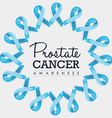 Prostate cancer awareness ribbon design with text vector image