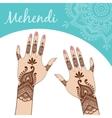 Women hands manicure Mehendi vector image