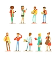 University And College Students Street Fashion vector image