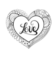 Floral doodle heart frame in zentangle style with vector image