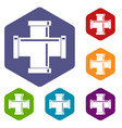 black pipe fitting icons set hexagon vector image