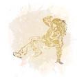 break dance dancer on handcrafted splashes vector image