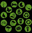grunge eco symbols button vector image