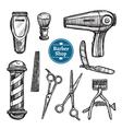 Barber Shop Set Doodle Sketch Icons vector image
