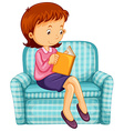 Woman reading book on sofa vector image vector image