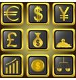 Golden finance buttons vector image