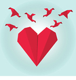 Red paper origami heart with flying origami birds vector image