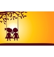 Sunset silhouettes of boy and girl vector image