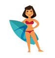 tanned woman in maroon swimsuit and blue surfboard vector image