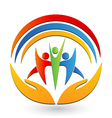 Teamwork with hands and connections logo vector image vector image