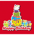 Birthday card with topsy-turvy cake vector image