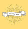 thank you thank you text on vintage hand drawn vector image vector image