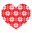 Nordic winter red heart pattern vector image