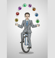 businessman riding a unicycle juggling balls vector image