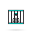 linear icon - prisoner in the cell vector image