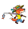 little funny fox go fishing vector image