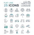Set Flat Line Icons London and England vector image