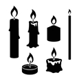 Set of black and white silhouette burning candles vector image
