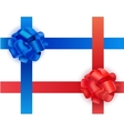 set of shiny blue and red satin crosswise vector image