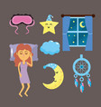 set woman with good night thing vector image
