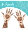 Women hands palms up Mehendi vector image