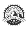 freeride extreme custom bicycles vintage label vector image