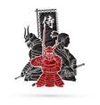 3 samurai composition vector image