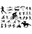 30 high quality sport silhouettes vector image