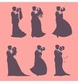 Six wedding couples vector image