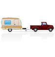 car pickup with trailer 05 vector image