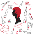 Set of various cosmetic items vector image