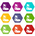 boot for snowboarding icon set color hexahedron vector image