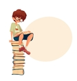 Boy in glasses sitting on pile of books and vector image