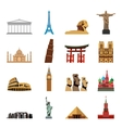 World landmarks flat icons vector image
