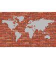 World map on a brick wall vector image