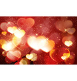Red golden Valentines day bokeh shiny vector image vector image