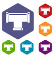 t pipe connection icons set hexagon vector image