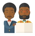 Two black Workers using laptop vector image