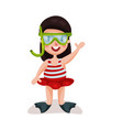 little girl wearing red swimsuit diving mask and vector image